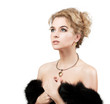 Beautiful Woman Wearing Luxury Fur Coat