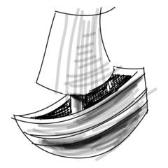 Boat with sail sketch vector illustration