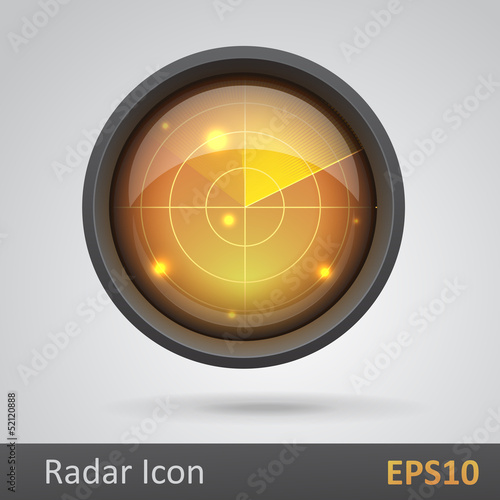 Realistic radar icon vector illustration