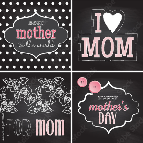 Set of greeting cards for Mother's Day. Vector illustration