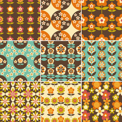 Set of 70s Seamless Patterns Design
