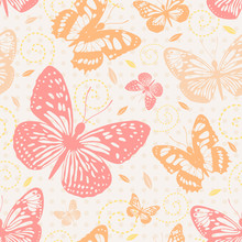 Seamless pattern with butterflies in neutral colors