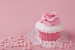 canvas print picture - Cupcake with pink flowers