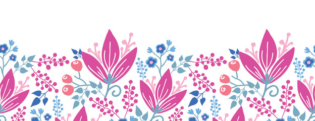 Vector pink flowers horizontal seamless pattern background