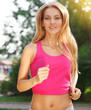 Sport fitness running woman jogging during outdoor workout
