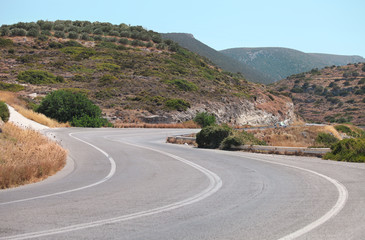 Picturesque road landscape. Crete, Greece