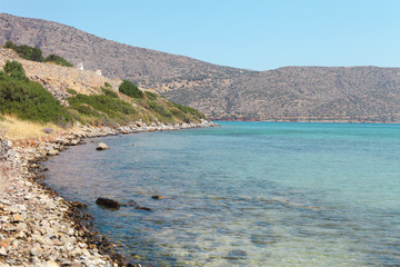 Beautiful sea landscape. Elounda, Crete, Greece
