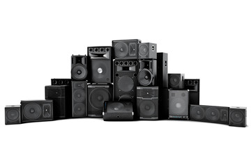 Large group of speakers in a row, on a white background.