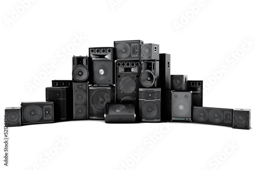 canvas print picture Large group of speakers in a row, on a white background.