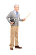 Full length portrait of a male teacher holding a wand and a book