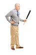 Full length portrait of an angry middle aged man holding a baseb