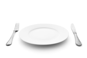 knife with fork and plate