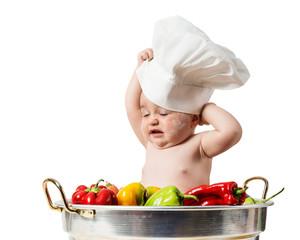 Bambina con cappello da chef