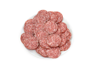 deli meat on plate on white background