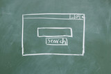 Search interface drawn with chalk on blackboard