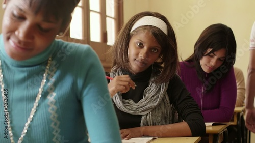 Students and high school education, portrait of black teen