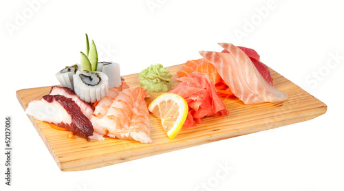 Sashimi set isolated on white
