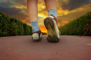 woman walking in the park, sport shoe closeup