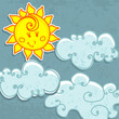 Cute paper Sun and clouds