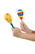 Color maracas percussion music instrument as white isolate backg