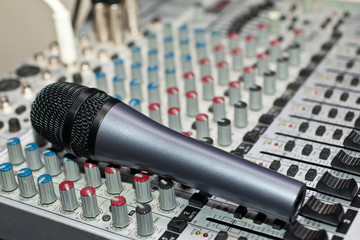 Microphone closeup lying in the console