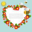 Background with flowers, bees and sun