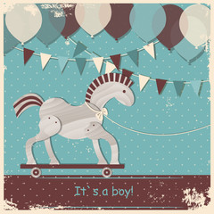 Baby shower design, cute toy horse.