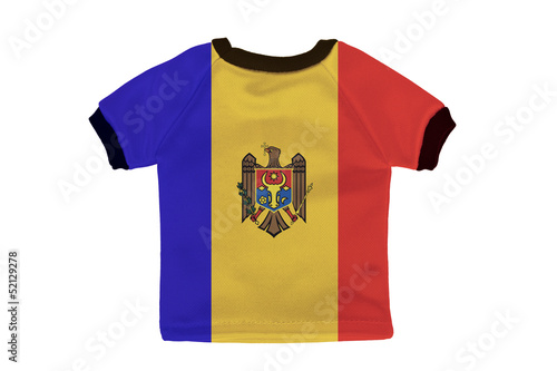 Small shirt with Moldova flag isolated on white background