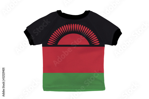 Small shirt with Malawi flag isolated on white background