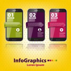 set infographic with three smartphones