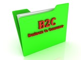 B2C bright red letters on a green folder with papers