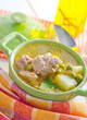 Fresh soup with meat and vegetables