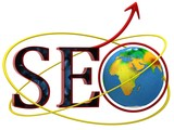 Illustration of text SEO with earth globe
