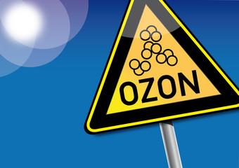 Achtung Ozon, Ozonkonzentration, Smog, Schild Warnung
