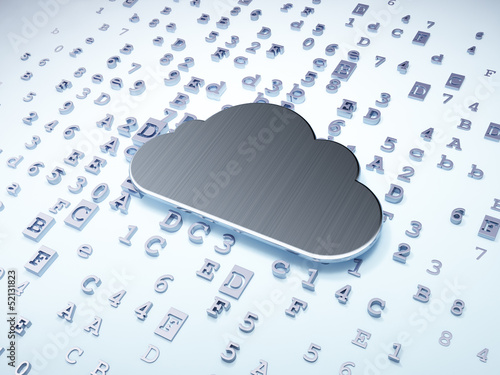Networking concept: Silver Cloud on digital background