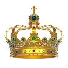 Or couronne royale avec des bijoux