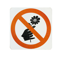 Do not pick flower sign,orange cycle color