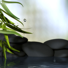 Bambus mit Steinen und Wasser