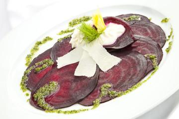 Vegetarian Beetroot Carpaccio w goat cheese and Pesto
