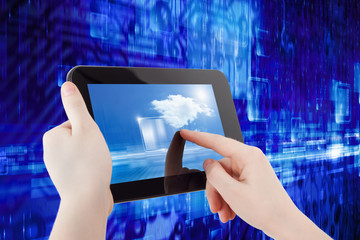 Tablet computer in hands