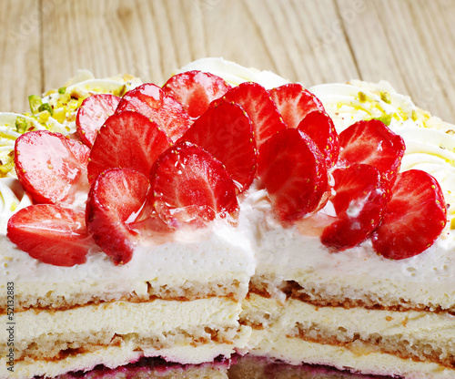 Strawberry cake piece