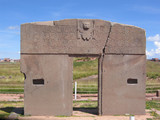 Bolivia, Tiwanaku Gate of the Sun ruins with god Viracocha