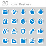 20 icons business blue