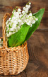 bouquet of lilies of the valley in a basket