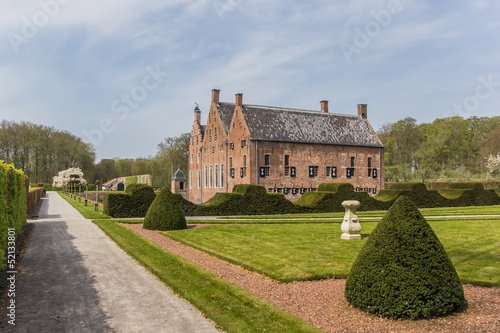 Garden and the old dutch mansion Menkemaborg
