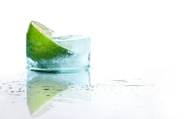 Fresh lime and slice with ice