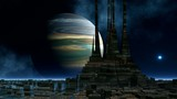 The temple of aliens against the gas giant