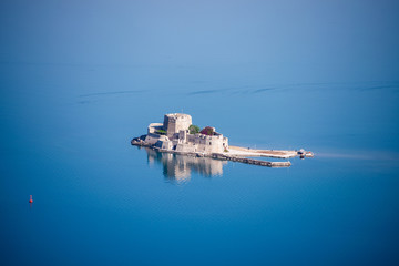 Aerial view of Bourtzi castle, Nafplio