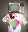 businessman with old retro television