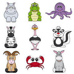Cartoon animals and pets